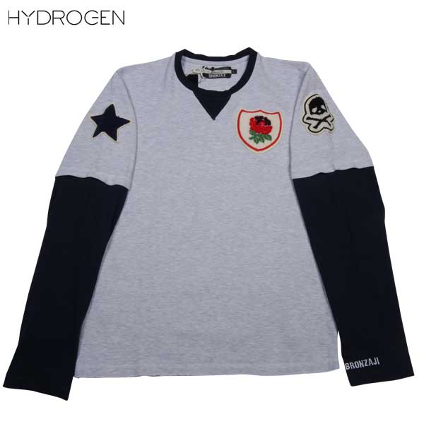 ハイドロゲン HYDROGEN メンズ BRONZAJI スカル ロング Tシャツ 長袖  ロンT 重ね着風 ワッペン ライトグレー148004 015 GRIGIO MELANGE 14S