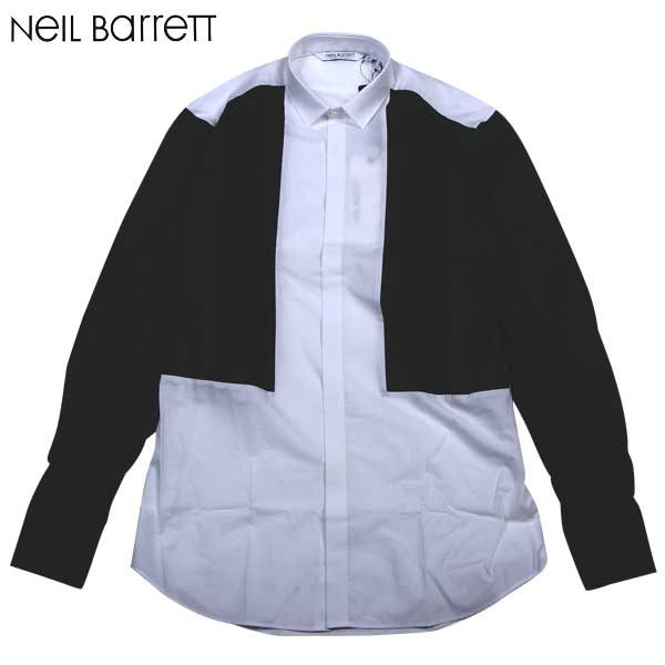 【送料無料】 ニールバレット (NeilBarrett) メンズ コットン ドレスシャツ 長袖 PBCM76C C8137 01 【smtb-TK】 14S