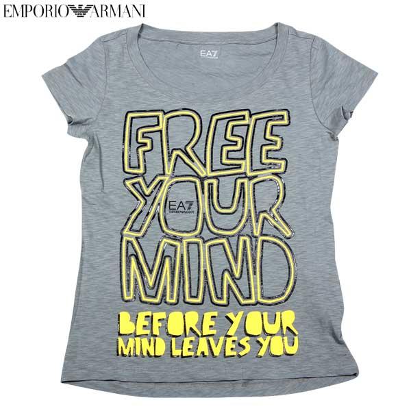 エンポリオアルマーニ EMPORIO-ARMANI レディース トップス 半袖 Tシャツ EA7ロゴ入りカットソー 色違い(白/ピンク)あり グレー 283628 4P207 01449 14S (R10900)