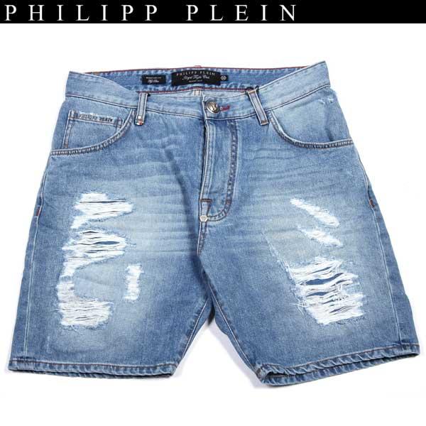 フィリッププレイン PHILIPP PLEIN メンズ クラッシュ加工 ハーフパンツ デニム HM521573 07FB blue 14S【送料無料】【smtb-TK】