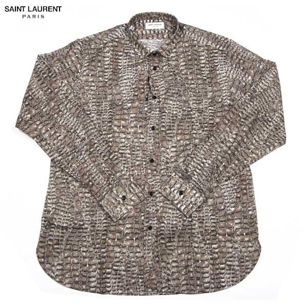 サンローランパリ SAINT LAURENT PARIS メンズ コットン スネーク プリント ドレスシャツ 323920 YM99Q 9671 14S【送料無料】【smtb-TK】