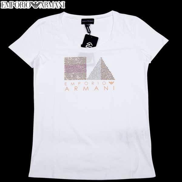 エンポリオアルマーニ EMPORIO-ARMANI レディース トップス 半袖 Tシャツ ラインストーンデザイン・ロゴ入りカットソー 色違い(オレンジ)あり N2T09J N2K6J 100 14S (R26250) 【送料無料】【smtb-TK】