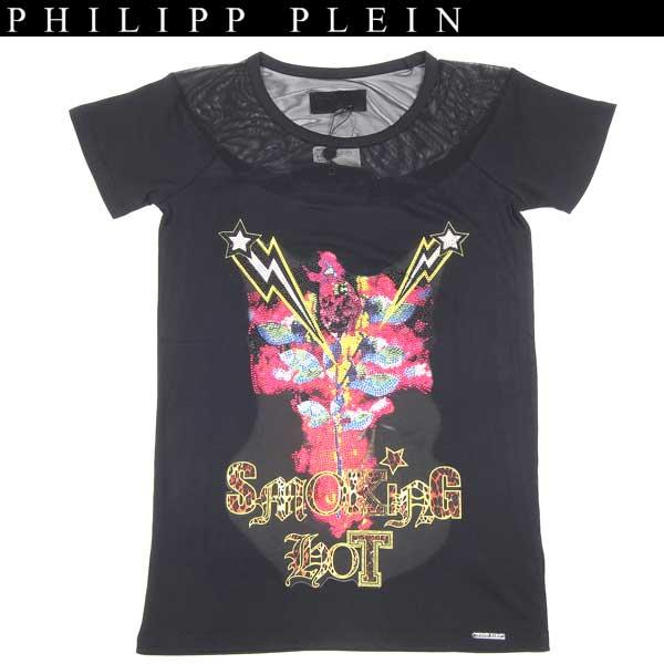 フィリッププレイン PHILIPP PLEIN レディース ラインストーン スカル 半袖 カットソー Tシャツ