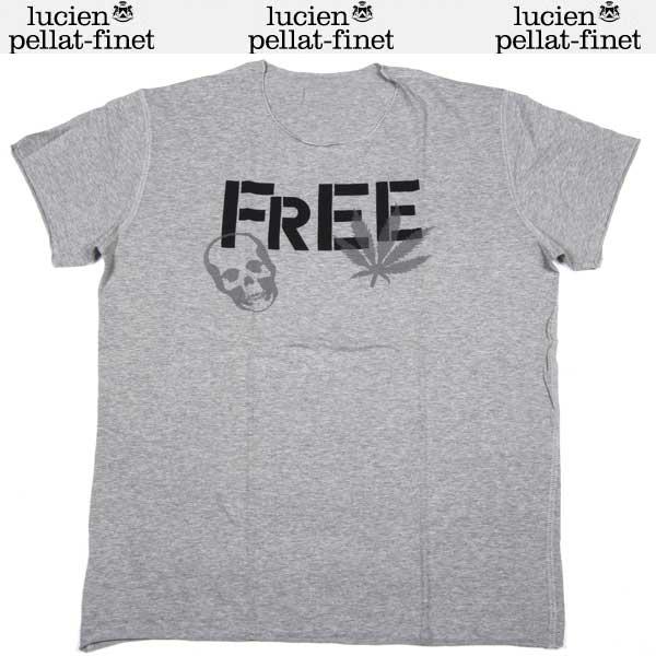 ルシアンペラフィネ lucien pellat-finet メンズ スカル ヘンプ リーフ 半袖 Tシャツ EVH 1090 TWIST GREY 13S【送料無料】【smtb-TK】