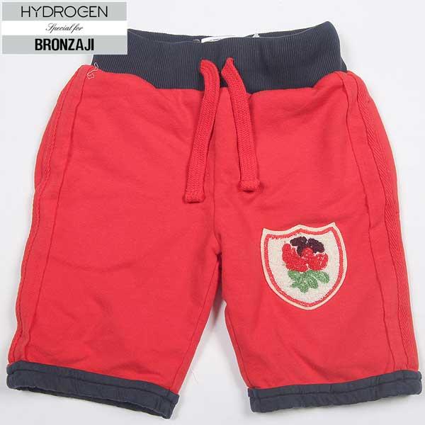 ハイドロゲン HYDROGEN キッズ 子供 子ども こども BRONZAJI ハーフ パンツ スウェット 半ズボン 短パン ショートパンツ ワッペン付き ショーパン 赤 レッド RED 14B006 002 14S