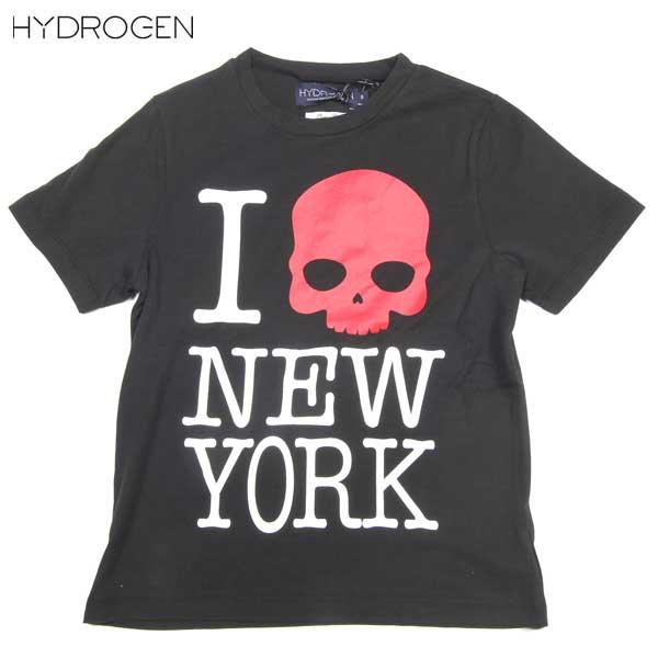 ハイドロゲン HYDROGEN キッズ 子供 子ども こども スカル 半袖 Tシャツ NEW YORK ニューヨークロゴ入り半袖Tシャツ 赤スカル 黒 ブラック 142112 007 14S