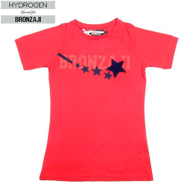 ハイドロゲン HYDROGEN レディース 星柄 ワッペン付き 半袖 Tシャツ 赤レッドRED 149010 002 DB14S