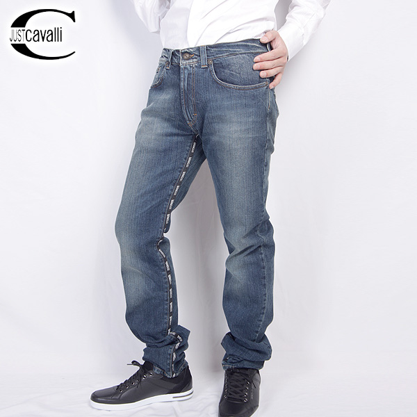 ジャストカバリ JUST Cavalli デザイン スリム ジーンズ SO1055-45437 ブルー【送料無料】【smtb-TK】