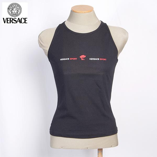 ヴェルサーチスポーツ VERSACE SPORT レディース タンクトップ カットソー ノースリーブ ブラック 30845 111934 002 (R8424)