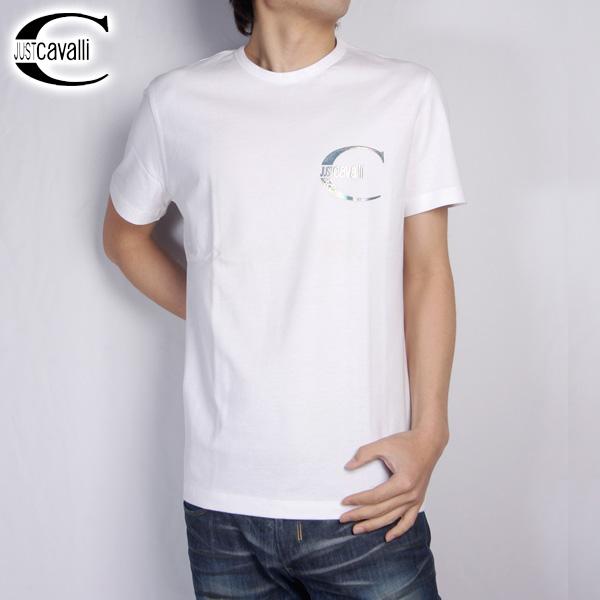 ジャストカバリ JUST Cavalli ホログラム半袖 Tシャツ RO2779-82645 ホワイト 【送料無料】【smtb-TK】
