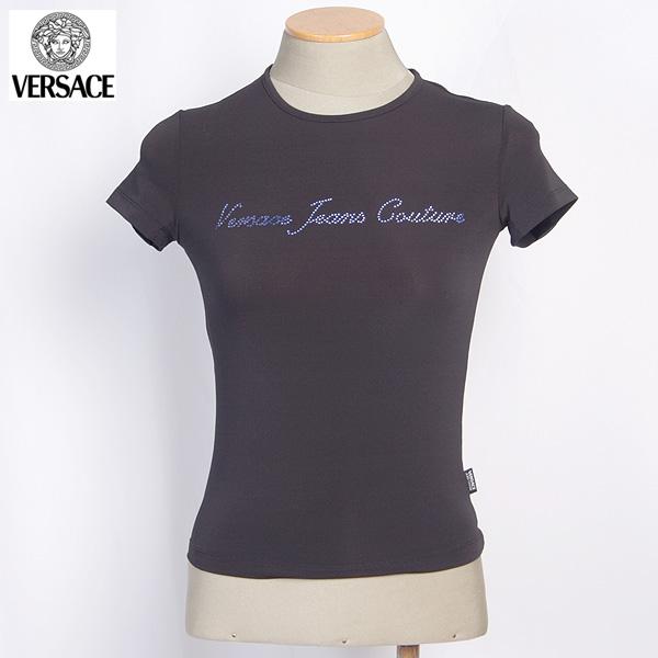 【サイズXS】 ヴェルサーチジーンズ Versace JEANS ベルサーチ レディース ラインストーン半袖 Tシャツ カットソー ブルーラインストーンロゴ 黒ブラックFV6770 14753 900 (R10436)