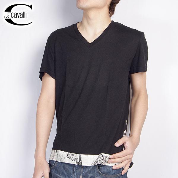 ジャストカバリ JUST Cavalli Vネック半袖 Tシャツ NO1750-30721 ブラック 【送料無料】【smtb-TK】