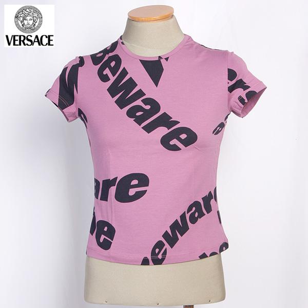 【サイズM】 ヴェルサーチジーンズ Versace JEANS レディース クルーネック半袖 Tシャツ カットソー レッド/ブラック GY7770 25320 002 (R21031)【送料無料】【smtb-TK】