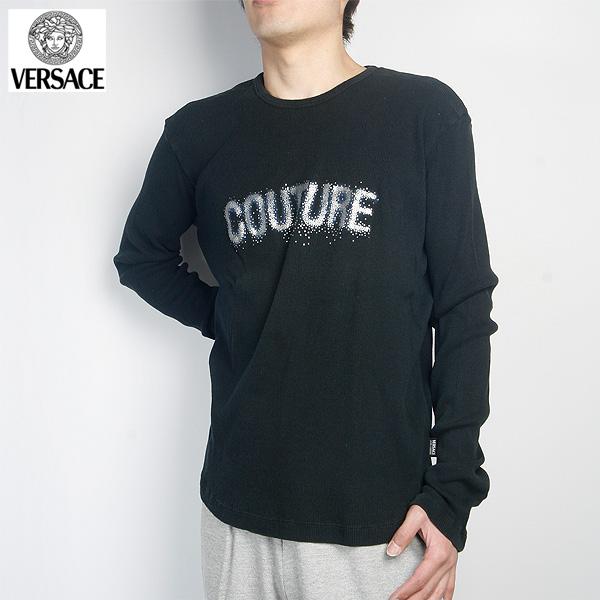 ヴェルサーチ Versace クルーネックロング Tシャツ FV3707-21065-BK ブラック (R12556)【送料無料】【smtb-TK】