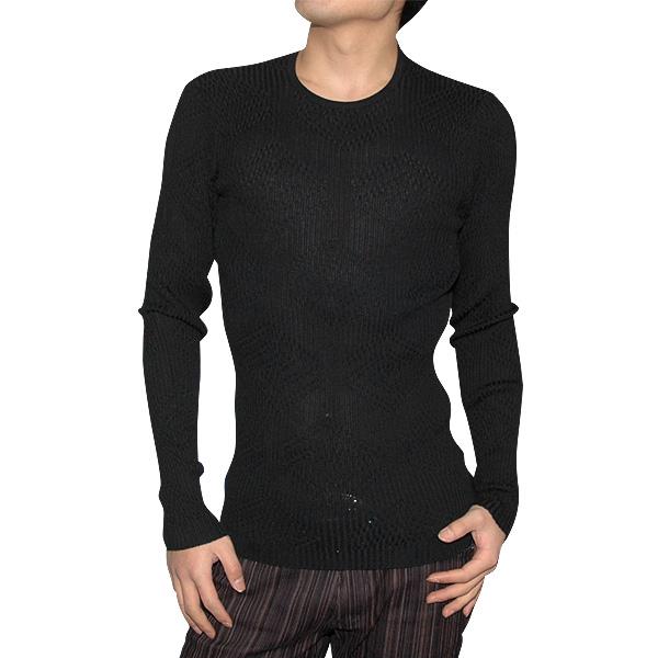 ヴェルサーチ Versace メンズ スリムシャツ カットソー リブ編 ブラック 黒 SMCG0L-5S309 (R39800)【送料無料】【smtb-TK】