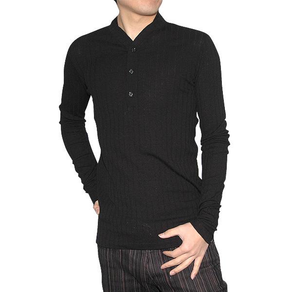 ヴェルサーチ Versace メンズ ウール ヘンリーネックシャツ ブラック 黒 VZJS3L-6H100 【送料無料】【smtb-TK】
