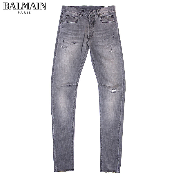 バルマン BALMAIN メンズ スリムビンテージクラッシュ ジーンズ W0HT506B406V グレー 【送料無料】【smtb-TK】