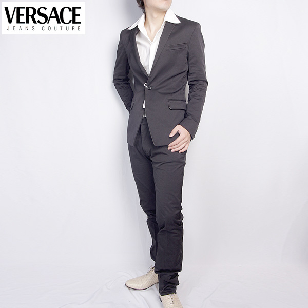 ヴェルサーチ ジーンズクチュール Versace メンズ スーツ セットアップ 20030 VJC ブラック 黒 【送料無料】【smtb-TK】