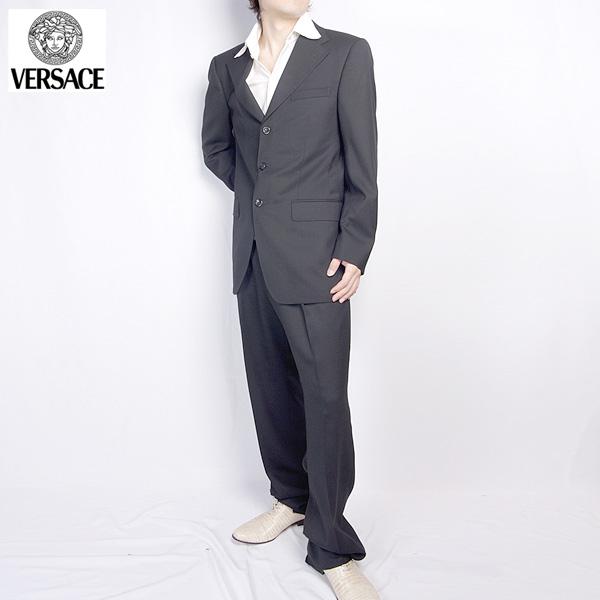 ヴェルサーチ Versace メンズ スーツ セットアップ 28ZDVG 646V07 A ブラック 黒 【送料無料】【smtb-TK】