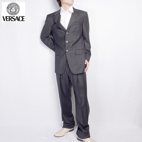 ヴェルサーチ Versace スーツ セットアップ 28ZDVG 239W01 E ブラック/ ワインレッドストライプ (R209821)【送料無料】【smtb-TK】