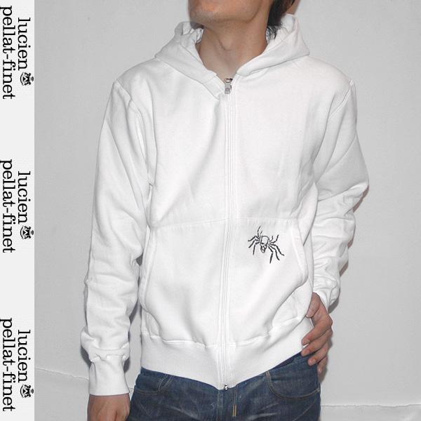 ルシアンペラフィネ lucien pellat-finet メンズ フルジップ パーカスカル刺繍 EVH725 WHITE/BLACK ホワイト 白 【送料無料】【smtb-TK】