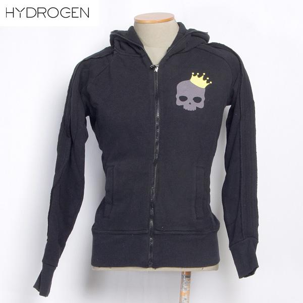 ハイドロゲン HYDROGEN レディース クラウン スカル ジップアップ パーカー ブラック 0B41050F5 SMALL LOGO 12A (R35700)【送料無料】【smtb-TK】