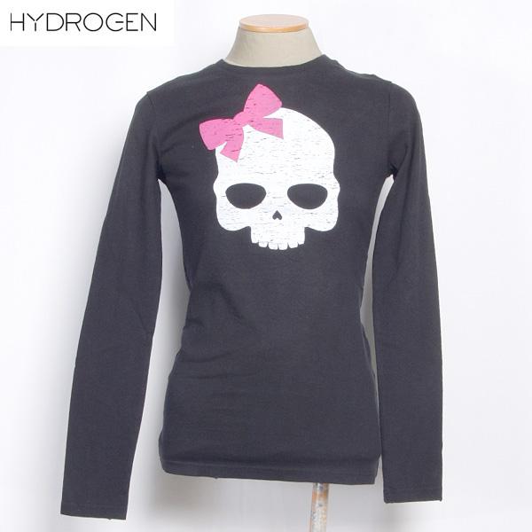 ハイドロゲン HYDROGEN レディース ピンク リボン スカル ロング Tシャツ 長袖 ブラック (R16800) 0B41040F5 BIG LOGO 12A