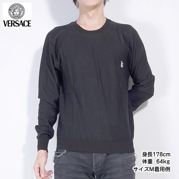 【サイズM】ジャンニヴェルサーチ Versace メンズ カットソー 長袖 ロング Tシャツ JUCG0L 9U300 000 ブラック 黒 【送料無料】【smtb-TK】