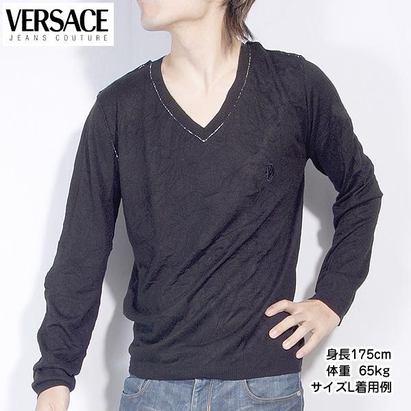 ヴェルサーチジーンズ Versace JEANS メンズ カットソー 長袖 Vネック カシミア シルク OV2805 81505 900 ブラック 黒 【送料無料】【smtb-TK】