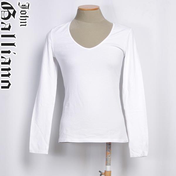 ジョンガリアーノ JOHN GALLIANO レディース ロング Tシャツ 長袖 T50 H842 1100 ホワイト 白 【送料無料】【smtb-TK】