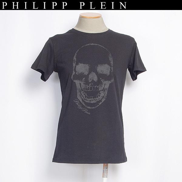 フィリッププレイン PHILIPP PLEIN レディース Tシャツ 半袖 ロゴメタルプレート付 スカル 11K9210 0354 02 ブラック 黒 (R29800) 【送料無料】【smtb-TK】
