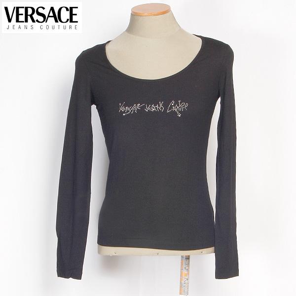 【サイズS】ヴェルサーチジーンズ Versace JEANS レディース カットソー 長袖 ストレッチ IV6732 29134 900 ブラック 黒 (R24209)【送料無料】【smtb-TK】