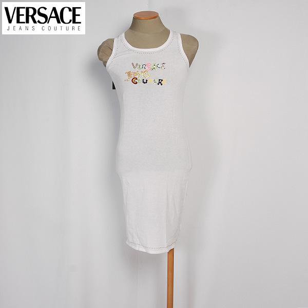 【サイズ36/XS/5~7号】ヴェルサーチジーンズ Versace JEANS レディース ワンピース ショート丈 コットンドレス スパンコール FV7865 81506 001 ABITO ホワイト 白 (R35800)【送料無料】【smtb-TK】