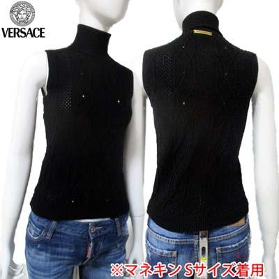 【サイズS】ヴェルサーチジーンズ Versace JEANS レディース チューブトップ ニットベスト GVM805 81519 900 MAGLIA ブラック 黒 (R28800)【送料無料】【smtb-TK】