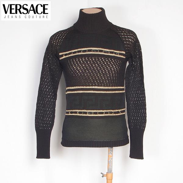 【サイズS】ヴェルサーチジーンズ Versace JEANS レディース カットソー 長袖 タートルネックセーター CV7885 81509 900 ブラック/ゴールド (R51965)【送料無料】【smtb-TK】