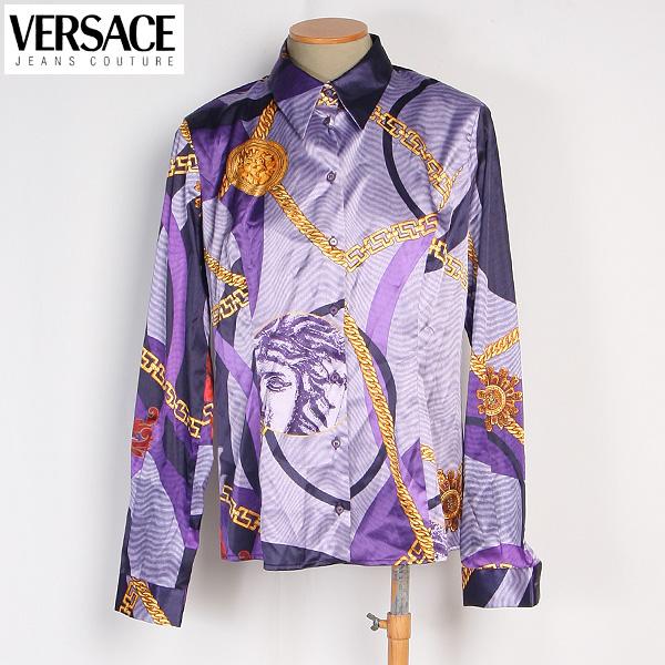 ヴェルサーチジーンズ Versace JEANS レディース ブラウス 長袖 スカーフ柄 CV7636 14731 002 CAMICIA パープル/ゴールド【送料無料】【smtb-TK】