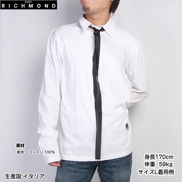 【サイズL】ジョンリッチモンド JOHN RICHMOND メンズ ポロシャツ 長袖 デザインシャツ ZHIB 3207 2329 0001 ホワイト 白 【送料無料】【smtb-TK】