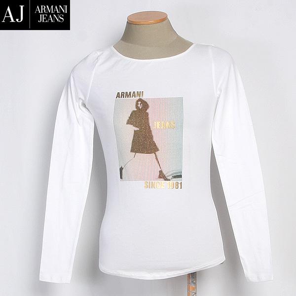 【サイズ38-S/9号】アルマーニジーンズ ARMANI-JEANS レディース ホログラム カットソー 長袖 Tシャツ G5H41JL 10ホワイト 白 (R21137) 【送料無料】【smtb-TK】