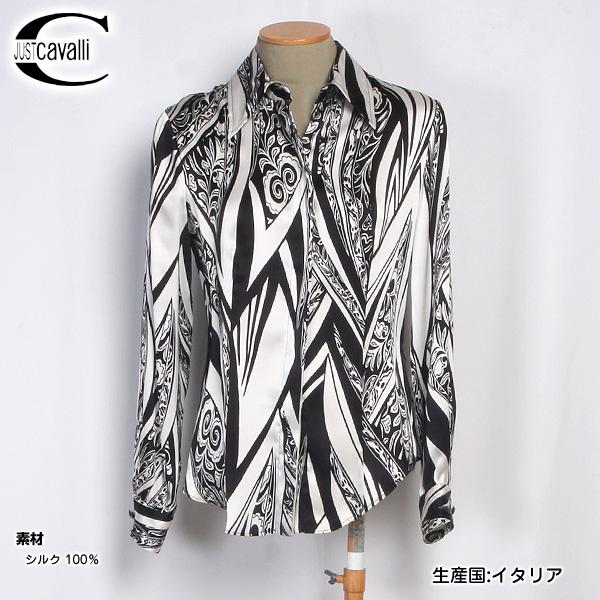 【サイズ40-M/11号】ジャストカバリ JUST Cavalli レディース シルク ブラウス ドレスシャツ TO667B 48393 S001 ブラック/ホワイト (R58800)【送料無料】【smtb-TK】