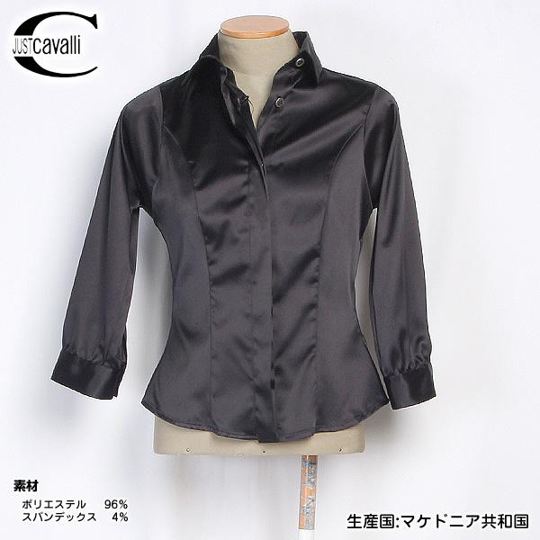 【サイズXS S M】ジャストカバリ JUST Cavalli レディース ドレスアップシャツ ブラウス QO7606 35477 900 ブラック 黒 【送料無料】【smtb-TK】