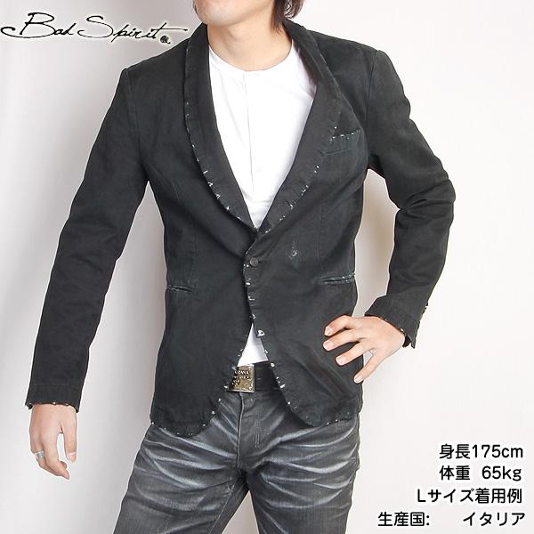 BAD SPIRIT バッドスピリット メンズ メンズ テーラード ジャケット 11SU-BAD1648 ブラック 黒 【送料無料】【smtb-TK】