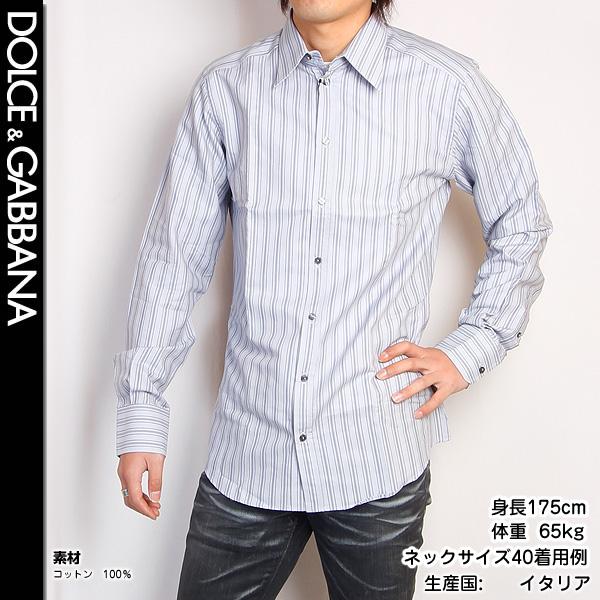 ドルチェ&ガッバーナ DOLCE&GABBANA メンズ GOLDライン ドレスシャツ 長袖 G5579T FB5HA S8052シルバーグレー (R59011)【送料無料】【smtb-TK】