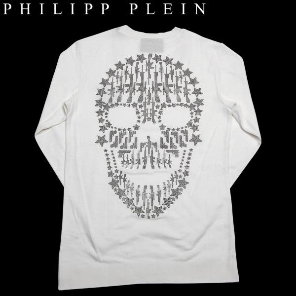 フィリッププレイン PHILIPP PLEIN メンズ ガンスカル 長袖 カットソー Pullover gunskull ホワイト PPH 12M1110 12S【送料無料】【smtb-TK】