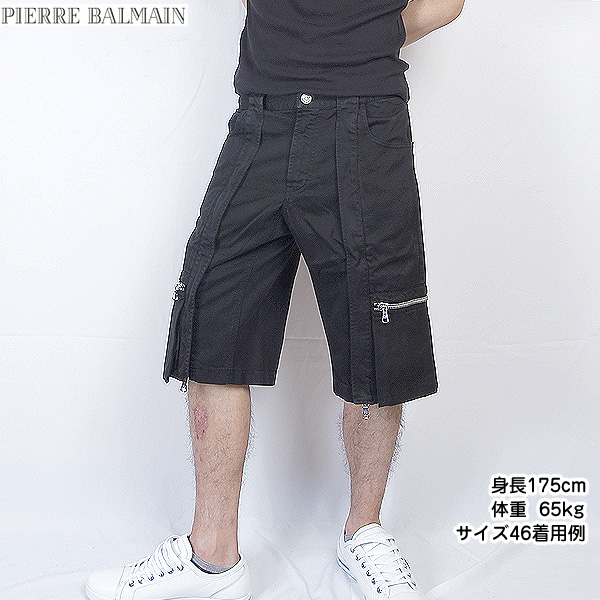 ピエールバルマン Pierre Balmain メンズ バミューダスタイル ハーフカーゴパンツ 4M2155 72053 900 ブラック 黒 (R52800) 【送料無料】【smtb-TK】