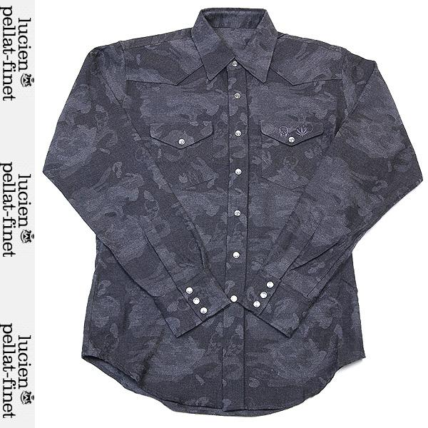 ルシアンペラフィネ lucien pellat-finet メンズ スカル リーフ刺繍 ワークシャツ D.GREY グレー YMP 187H 12A (R75600)【送料無料】【smtb-TK】