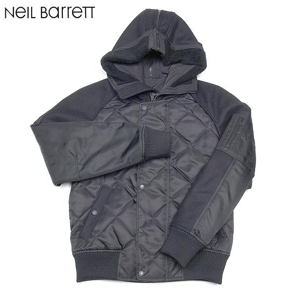 ニールバレット Neil Barrett メンズ フーデッド キルティング ブルゾン BSP78 C5127 01ブラック 黒 【送料無料】【smtb-TK】