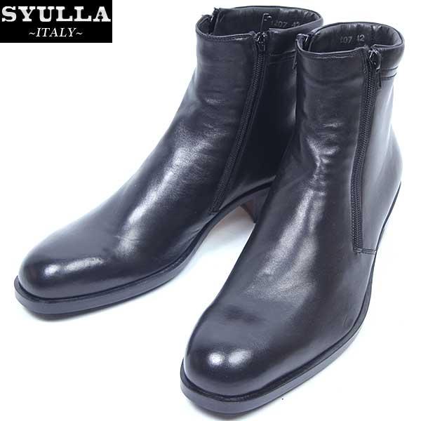 シュラ SYULLA メンズ サイドファスナー ブーツ 並行輸入品 靴 smtb-TK ブラック 黒 開催中 送料無料 1207H R67646