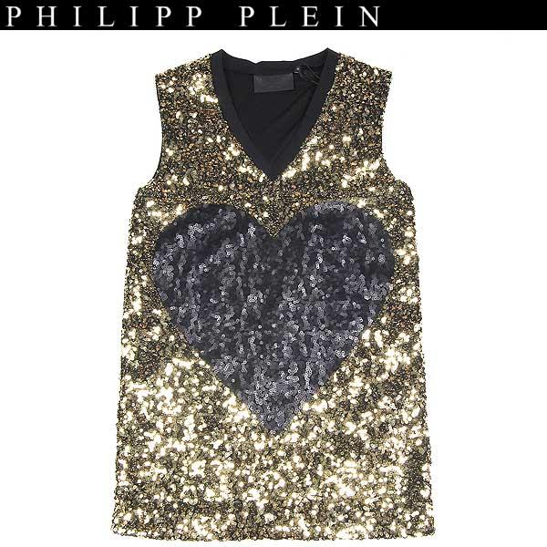フィリッププレイン PHILIPP PLEIN レディース ノースリーブ スパンコール ドレス ゴールド loveplein SS13 CW292016 12A【送料無料】【smtb-TK】