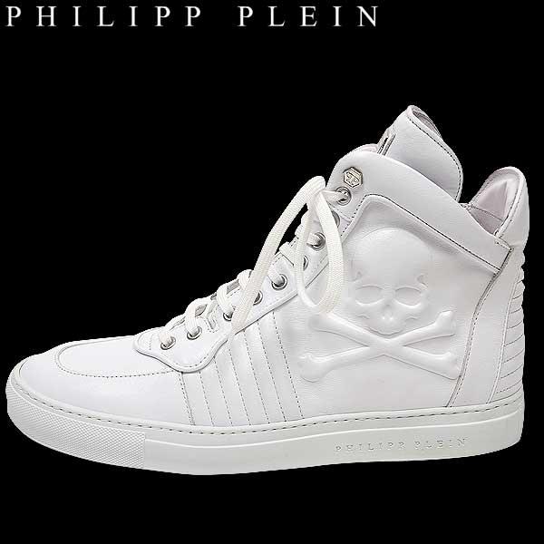 フィリッププレイン PHILIPP PLEIN メンズ スカル ハイカット レザー スニーカー 靴 SM151312 WH 14A【送料無料】【smtb-TK】