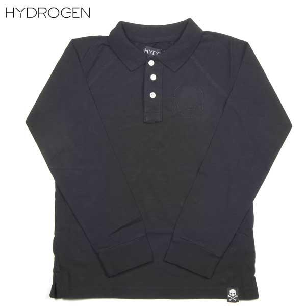 ハイドロゲン HYDROGEN キッズ スカル ステッチ 長袖 ポロシャツ 156016 007 DB14A